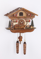 Quartz Cuckoo Clock moving wood cutter/turning water wheel 11,2 inch