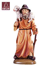 Farm Nativity Shepherd with Sheep 3.54inch color
