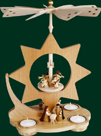 RG Tealight-Pyramid Star, Nativity, 12 inches