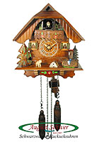 Quarz Cuckoo Clock Black Forest Chalet, Well, Music, 9 inch