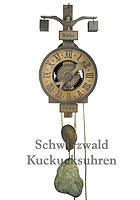Wooden Clock / One-Handed Clock: 1640 Replica Model, 14.2 inch