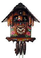 1-Day Music Dancer Cuckoo Clock, Chalet, Roses, 10.6 inch