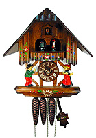 1-Day Music Dancer Cuckoo Clock Timberframe, 10.6 inch