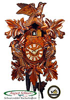 1-Day Carving Cuckoo Clock 3-Birds, 13.4inch