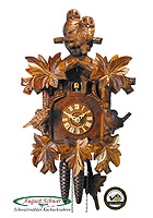 1-Day Cuckoo Clock Carving Owl & Sparrow 13inch