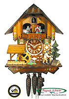1-Day Music Cuckoo Clock The Wood Chopper, 11.8 inch