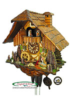 1-Tag Music Dancer Cuckoo Clock Boy Fetching Water, 13.8inch