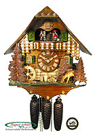 8-Day Cuckoo Clock Chalet Music: Black Forest Farm & Deer, 13.8inch