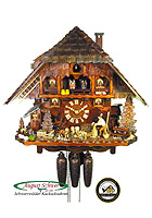 8-Day Music Cuckoo Clock Black Forest Chalet Woodchopper 17.3 inch