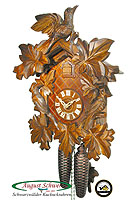 8-Day Carving Cuckoo Clock 3 Birds & Leaves 15.3 inch