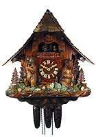 8-Day Cuckoo Clock Pointed Roof Chalet: The Bears, 18.5inch