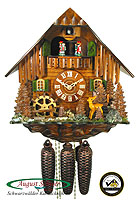8-Day Cuckoo Clock Chalet Music: Black Forest Farmstead, Deer, 13.4 inch