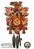 1-Day Cuckoo Clock Carving Bird & Leaves, Painted Roses, 9.45 inch