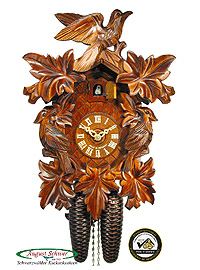 8-Day Carving Cuckoo Clock 3-Birds, 13.4inch