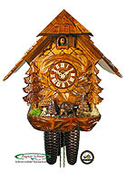 8-Day Cuckoo Clock Forest Chalet with Wild Boar 11.8 in