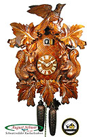 8-Day Carving Cuckoo Clock Squirrel Clock, 18.9 inch