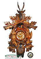 8-Day Carving Cuckoo Clock Hunting Clock, 23.23in