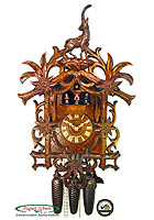 8-Day Cuckoo Clock Music Dancer Vines & Ibex Carving, 22 inch