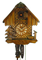 1-Day Cuckoo Clock Chalet, oak finish, 9.2 inch