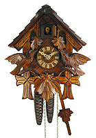 1-Day Cuckoo Clock Chalet 3-Leaves, 9.1inches