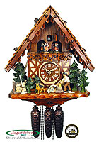 8-Day Cuckoo Clock Timberframe House, Wood Chopper, 15.7inch