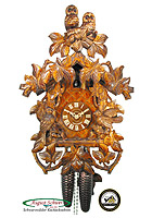 8-Day Carving Cuckoo Clock Owls & Vines 18.9 inch