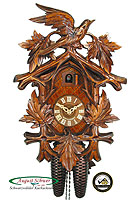 8-Day Carving Cuckoo Clock 5-Leaves & Cuckoo, 15 inch