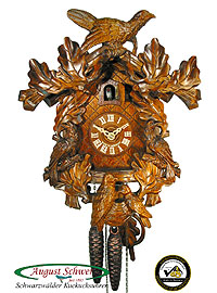 1-Day Carving Cuckoo Clock 5-Birds, Oak-Leaves, 12.6 inch
