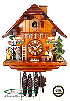 1-Day Music Cuckoo Clock Chalet: The May Pole Clock, 11 inch