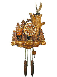 Wall Clock Old Oak Line Stag & Eagle 15.7 inch