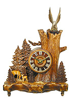 Table-Clock Old Oak Line Deer & Eagle 14.5 inch