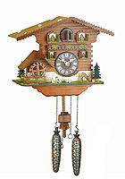 Quartz Cuckoo Clock Turning Mill-Wheel, 9.84 inch
