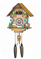 Quartz Cuckoo Clock Black Forest Costume Couple, 12.6inch