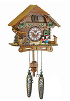 Quartz Cuckoo Clock Black Forest Costume Couple, 10.2 inch