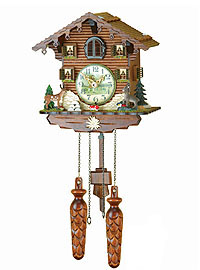 Quartz Carving Cuckoo Clock Stag & Ibex, 8.66 inch