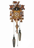 Quartz Carving Cuckoo Clock Bird & Leaves, 8.66inch