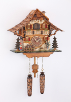 Quartz Cuckoo Clock moving clock peddler/turning water wheel 9,2 inches