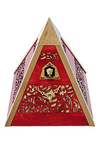 Cuckoo Clock Pyramid, red, Quarz-Movement 12 Tunes, 9.4inch