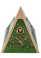 Cuckoo Clock Pyramid, green, Quarz-Movement 12 Tunes, 9.4inch
