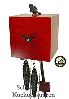 Modern Cuckoo Clock 1-Day Bamboo red 6.7 inch
